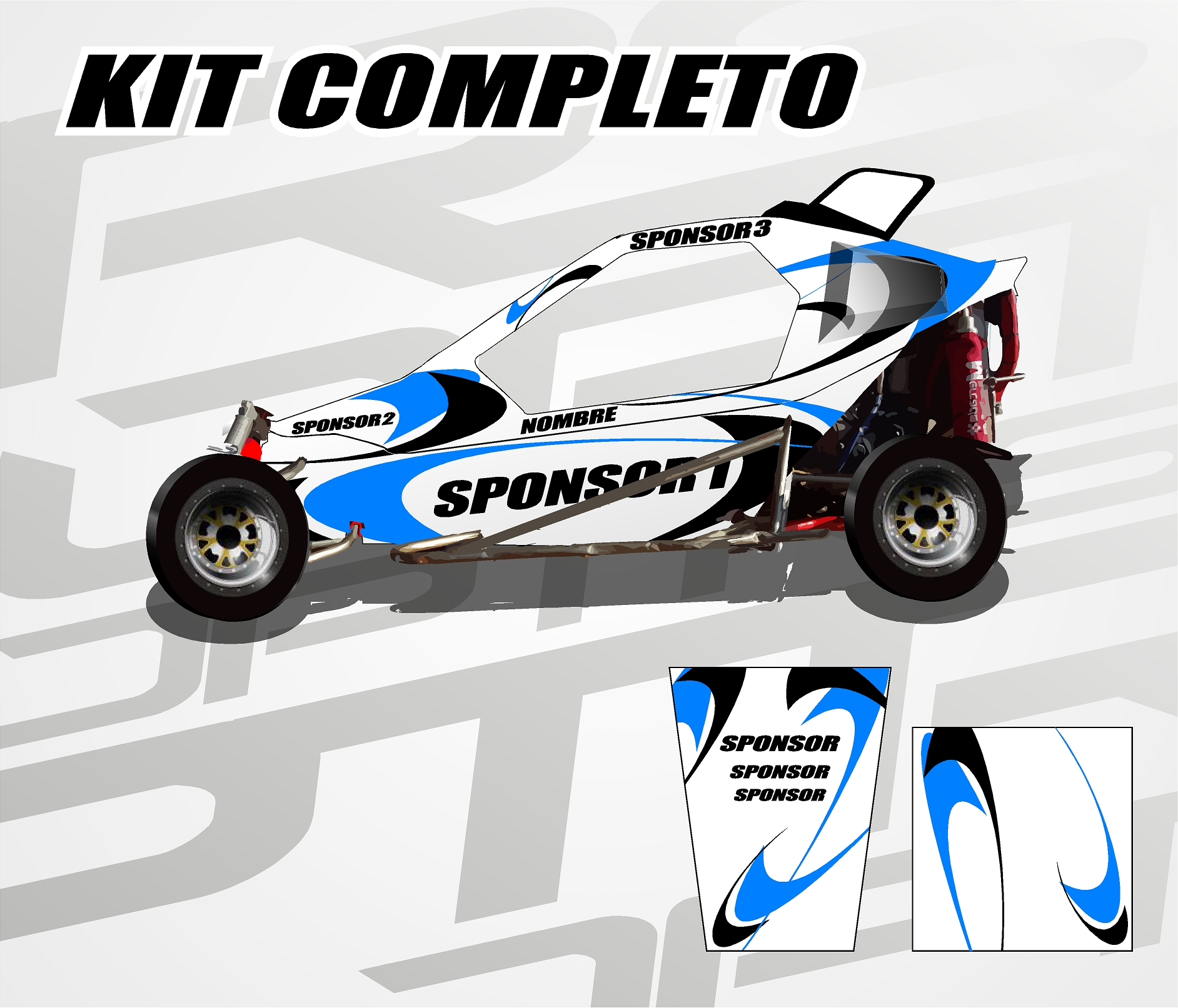 KIT Carcross Semipersonalizado Universal Pro Graphic blue